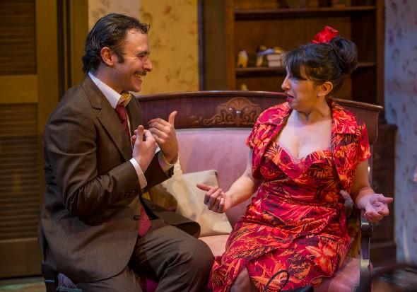 "Alvaro Mangiacavallo (Nic Grelli) makes his romantic pitch to Serafina (Eileen Niccolai) in 'The Rose Tattoo."" (Michael Brosilow)"