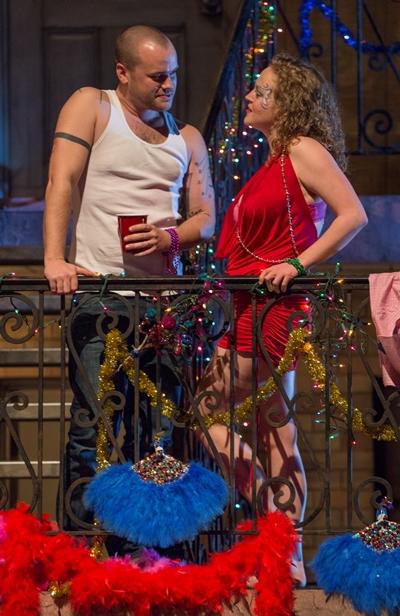 Bait Boy (Stephen Louis Grush) and Krista (Caroline Neff) fan the old spark. (Michael Brosilow)