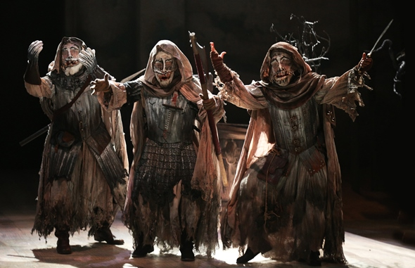 The three weird sisters in Chicago Shakespeare Theater's shortened version of 'Macbeth.' (Liz Lauren)