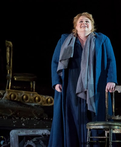 Elisabeth (Amber Wagner) sings a heartfelt paean to the great hall that is the citadel of her life. (Todd Rosenberg)