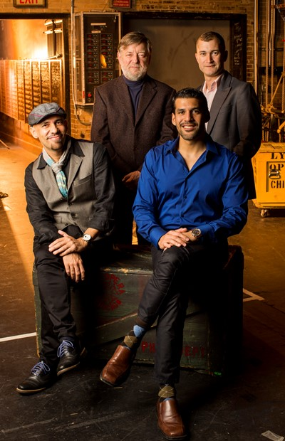 Lyric's creative team for the world premiere of 'Bel Canto,' clockwise from upper left, conductor Andrew Davis, director Kevin Newbury, composer Jimmy López, librettist Nilo Cruz. (Todd Rosenberg)