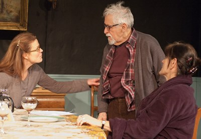 Marian (Juliet Hart, left) and Barbara (Janet Ulrich Brooks) try to reassure anxious Uncle Benjamin (Mike Nussbaum). (Lara Goetsch)