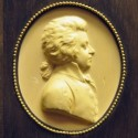 Mozart, detail of plaster relief of wood engraving by Leonard Posch  (Wien Kunsthistorisches Museum)