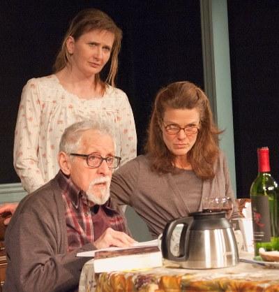 Uncle Benjamin (Mike Nussbaum) gets defensive support from Jane (Mechelle Moe, center) and Marian (Juliet Hart) in 'Sorry.' (Lara Goetsch)
