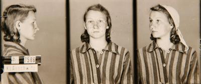 Zofia Posmysz, age 18, upon induction at Auschwitz