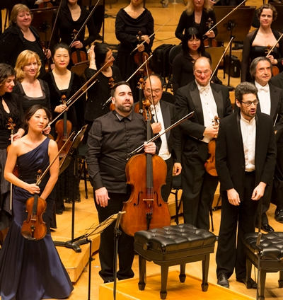 Conductor Riccardo Muti, far right, shared a bow with Beethoven concerto soloists Stephanie Jeong, Kenneth Olsen and Jonathan Biss. (Todd Rosenberg)