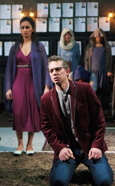 David Prete is first Kreon's wife Eurydike, seen here with Anu Bhatt as Antigone, then plays the over-reaching king himself. (Jonathan L. Green)