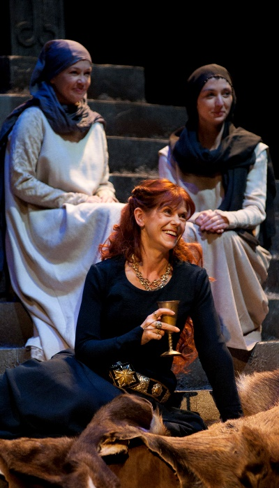 Deposed queen Gruach (Siobhan Redmond) is, for the moment, in a welcoming mood. (Richard Campbell)