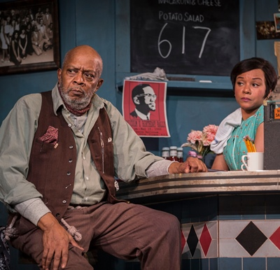 Hambone (Ernest Perry Jr.) has a sympathetic friend in the diner's cook and waitress, Risa (Nambi E. Kelley). (Liz Lauren)