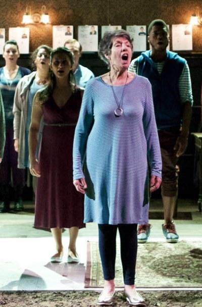 Lona Livingston provides the lead voice for the Chorus in 'Antigonick.' (Jonathan L. Green)