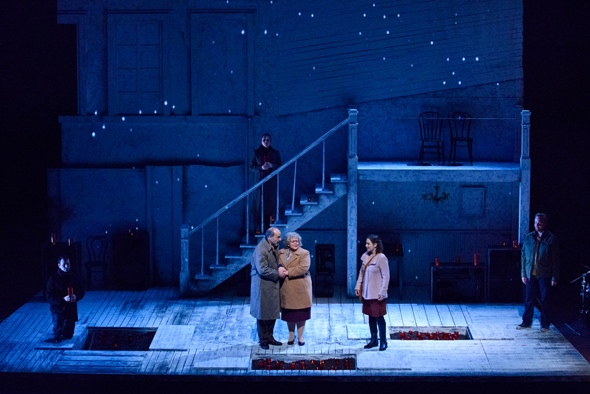 The final scene in 'The Property' by Wlad Marhulets and Stephanie Fleischmann blossoms in warm reconciliation (Robert Kusel, Chicago Lyric 2015)