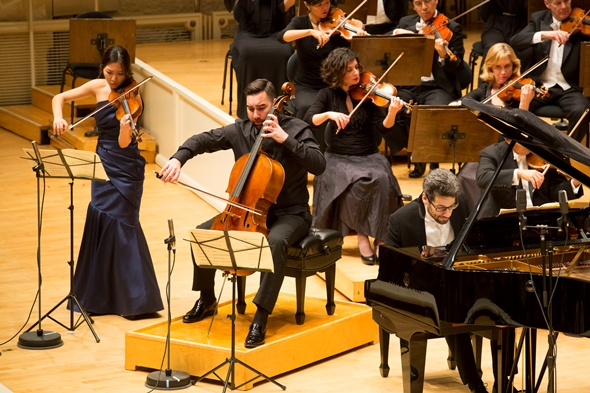 Violinist Stephanie Jeong, cellist Kenneth Olsen and pianist Jonathan Biss played Beethoven's Triple Concerto. (Todd Rosenberg)