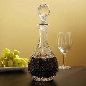 Wine-filled decanters add to a dinner party's festive spirit.
