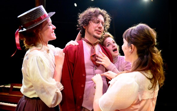 The three sisters, from left, Masha (Lindsey Gavel, Olga (Mary Williamson) and Irina (Hilary Williams), dote on their brother Andrei (Joel Ewing). (Evan Hanover)