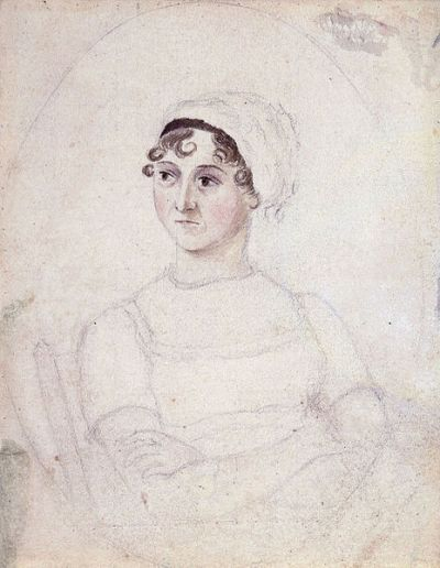 Jane Austen, watercolor and ink, by her sister, Cassandra, in about 1810. (via Wiki)