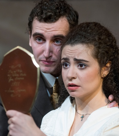 Seta (Sophia Menendian) wonders what the mirror holds for her and new husband Tomasian (Matt Browning). (Dean LaPrairie)