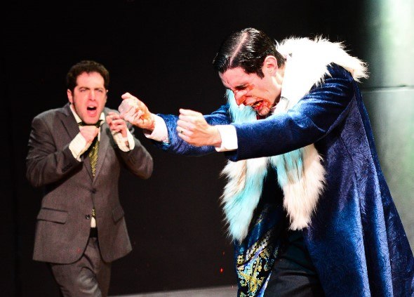 Creon (Zeke Sulkes, left) is stunned at the sight of Oedipus (John Taflan) in agony over the revelation that he has married his mother. (Evan Hanover)