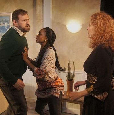 Margie (Jacqueline Grandt) opens old wounds when she visits Mike (Mark Pracht) and Kate (Kiki Layne). (Jan Ellen Graves)
