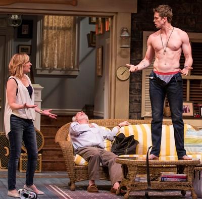 Masha (Mary Beth Fisher) is vexed and Vanya (Ross Lehman) cannot cope as Spike (Jordan Brown) again disrobes. (Liz Lauren)