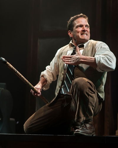 Taking the form of brilliant Achilles, the Poet (Jim DeVita) plays out fierce vengeance against Hector. (Zane Williams)