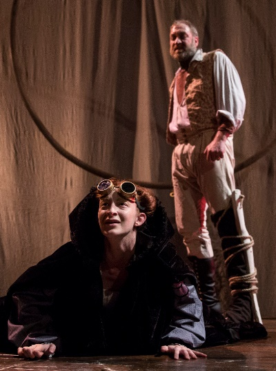 Captain Ahab (Christopher Donahue) stands over a dying whale (Emma Cadd) on the deck of the Pequod. (Liz Lauren)