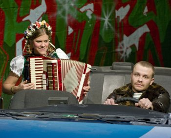 The passenger plays accordion. And yes, things get even worse in 'Hellcab,' Profile's newfound holiday tradition. (Michael Brosilow photo, 2012.)