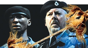 Phillip James Brannon, left, and David Lively in Part 1 of Barbara Gaines' epic Shakespeare conflation 'Tug of War.'