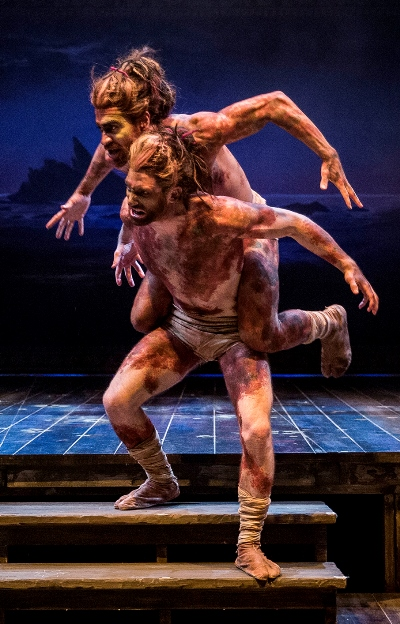 The acrobatic duo of Zach Eisenstat and Manelich Minniefee form the creature Caliban. (Liz Lauren)