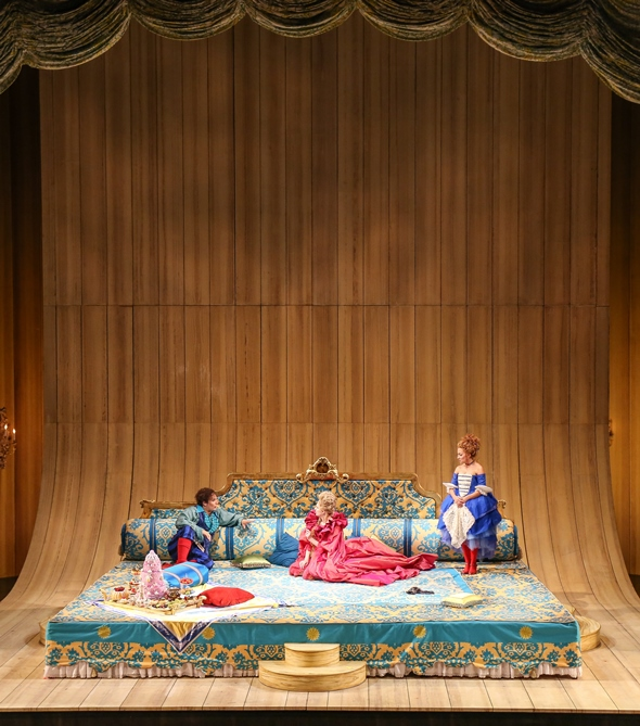 A really big bed is the Act II playground in Lyric's production of 'The Marriage of Figaro.' (Todd Rosenberg)
