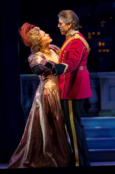 The widow (Renée Fleming) and the playboy (Thomas Hampson) in the Lyric's 'Merry Widow.' (Todd Rosenberg)