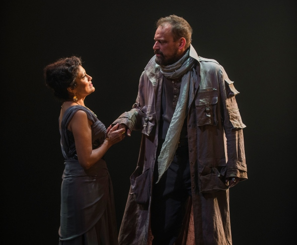 Clytemnestra (Sandra Marquez) greets her long-absent husband (Mark L. Montgomery) in 'Agamemnon.' (Michael Brosilow)