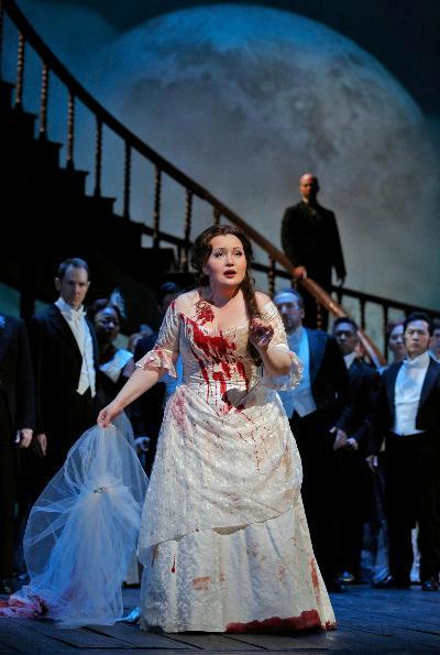 Albina Shagimuratova in the title role of Donizetti's Lucia di Lammermoor. Cory Weaver-Met