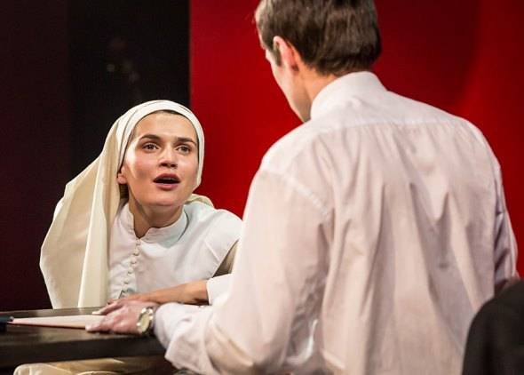 Isabella (Anna Khalilulina) pleads to Angelo (Andrei Kuzichev) for her brother's life. (Johan Persson)