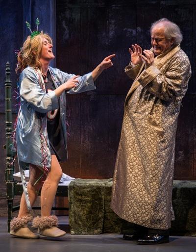 The-Ghost-of-Christmas-Present-Beth-Melewski-harasses-Scrooge-Francis-Guinan-in-Twist-Your-Dickens.-Liz-Lauren1