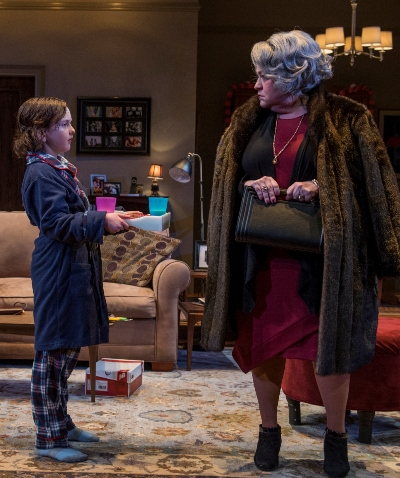 Bud (Ben Miller) catches Katharine (Cindy Gold) off guard with an offer of milk and cookies. (Michael Brosilow)