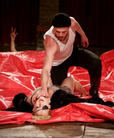Murderers Edmund (Kiryl Kanstantsinau) and Regan (Maryna Yurevich) participate in the growing frenzy. (Nicolai Khalezin)