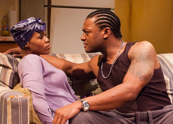 Nina (Anji White) and Damon (Kelvin Roston Jr.) sustain an edgy relationship in 'Sunset Baby.' (Lara Goetsch)