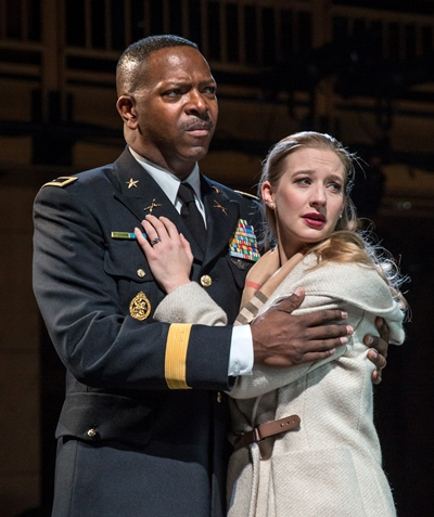 Othello (James Vincent Meredith) and his new wife Desdemona (Bethany Jillard) confront the Venetian council. (Liz Lauren)