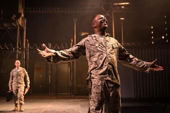 Othello (James Vincent Meredith) exults in his good fortune as Iago (Michael Milligan) looms behind. (Liz Lauren)