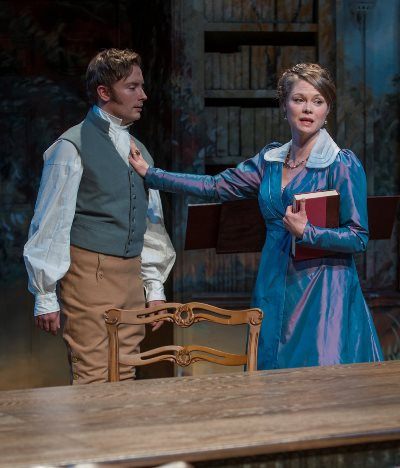 Lady Croom (Chaon Cross) begins to resist the influence of tutor Septimus (Greg Matthew Anderson) on daughter Thomasina. (Michael Brosilow)