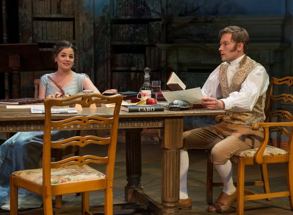 Eager young Thomasina (Elizabeth Stenholt) takes her daily lesson from tutor Septimus (Greg Matthew Anderson). (Michael Brosilow)