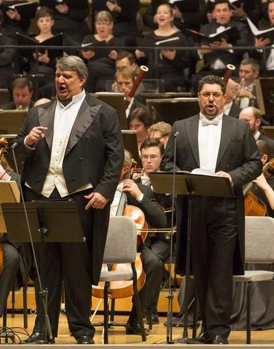 Luca Salsi, right, as Ford was well matched with Ambrogio Maestri's Falstaff. (Todd Rosenberg)