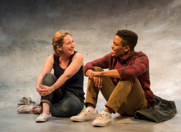 Marianne (Jessie Fisher) and Roland (Jon Michael Hill) in 'Constellations' by Nick Payne at Steppenwolf. (Michael Brosilow)