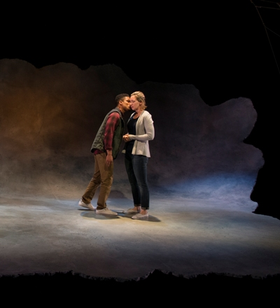 Adrift in a 'Constellation' set design by Joe Schermoly that puts them somewhere in the cosmos, Roland (Jon Michael Hall) and Marianne (Jessie Fisher) meet. (Michael Brosilow)