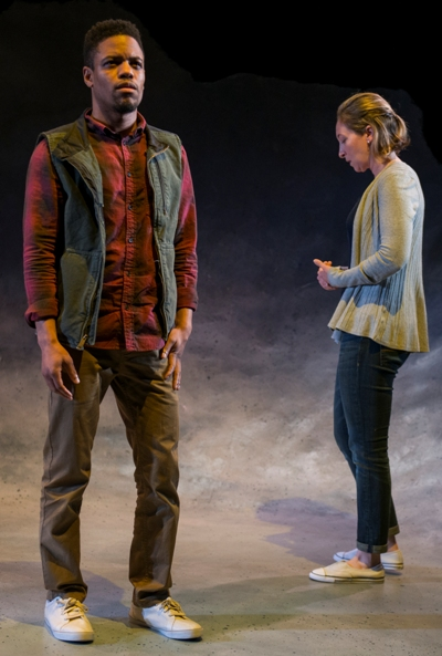 Roland (Jon Michael and Marianne (Jessie Fisher) face unavoidable realities even as time and space bend. (Michael Brosilow)