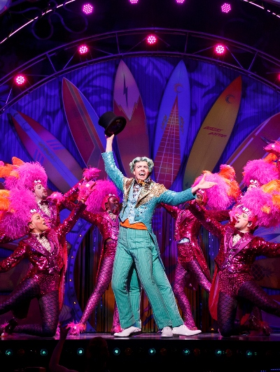 Squidward Tentacles (Gavin Lee) and company brought down the house with their big tap number. (Joan Marcus)