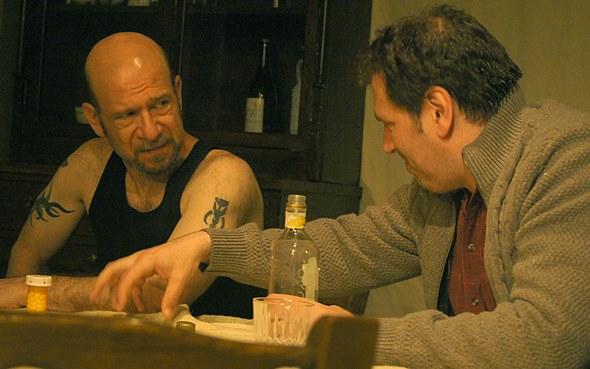 Mick (Adam Bitterman) and Thomas (Mark Pracht) square off over the girl who now bonds them. (Jan Ellen Graves)