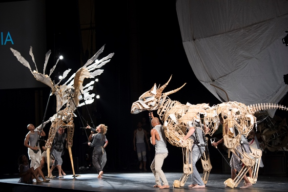 Bird and beast puppets prepare for their fateful clash in 'The Firebird.' (Patrick Gipson/Ravinia)