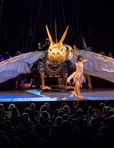 A redemptive dragon brings the dancer's promise of triumph. (Patrick Gipson/Ravinia)
