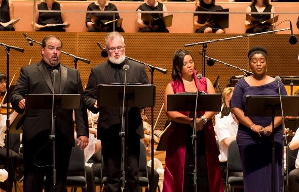 Mozart Mass soloists, from left, bass Daniel Eifert, tenor Hoss Brock, sopranos Janai Brugger and Hlengiwe Mkhwanazi. (Norman Timonera)